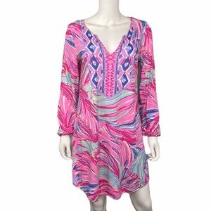 Lilly Pulitzer Pink Print Long Sleeve Dress Size M